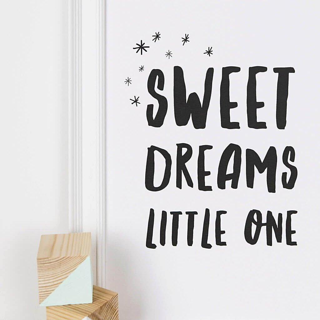 Monochrome Typographic Nursery Print 'Sweet Dreams Little One'