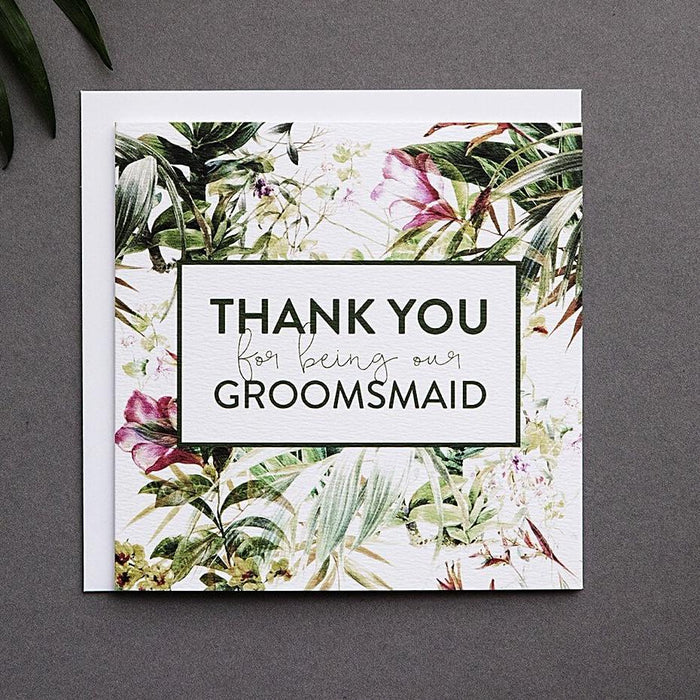 Tropical Groomsmaid thank you card