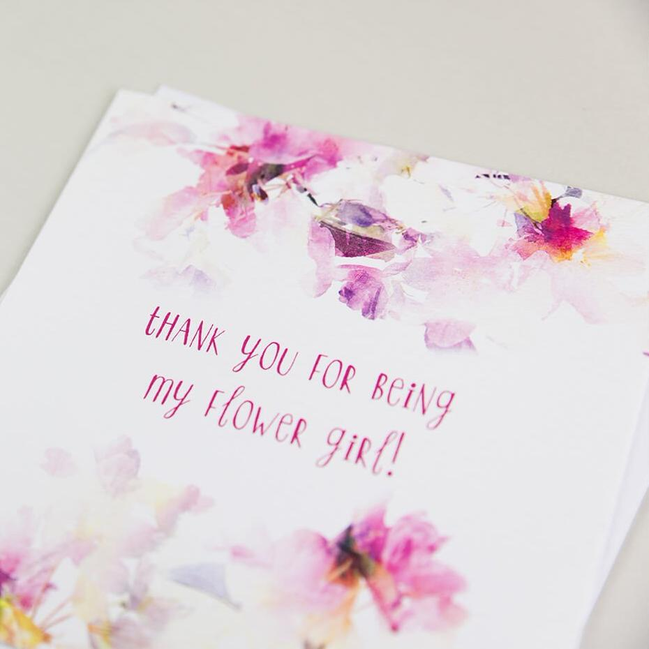 'Thank You For Being My Flower Girl' Card - Cute Wedding Thank You Cards
