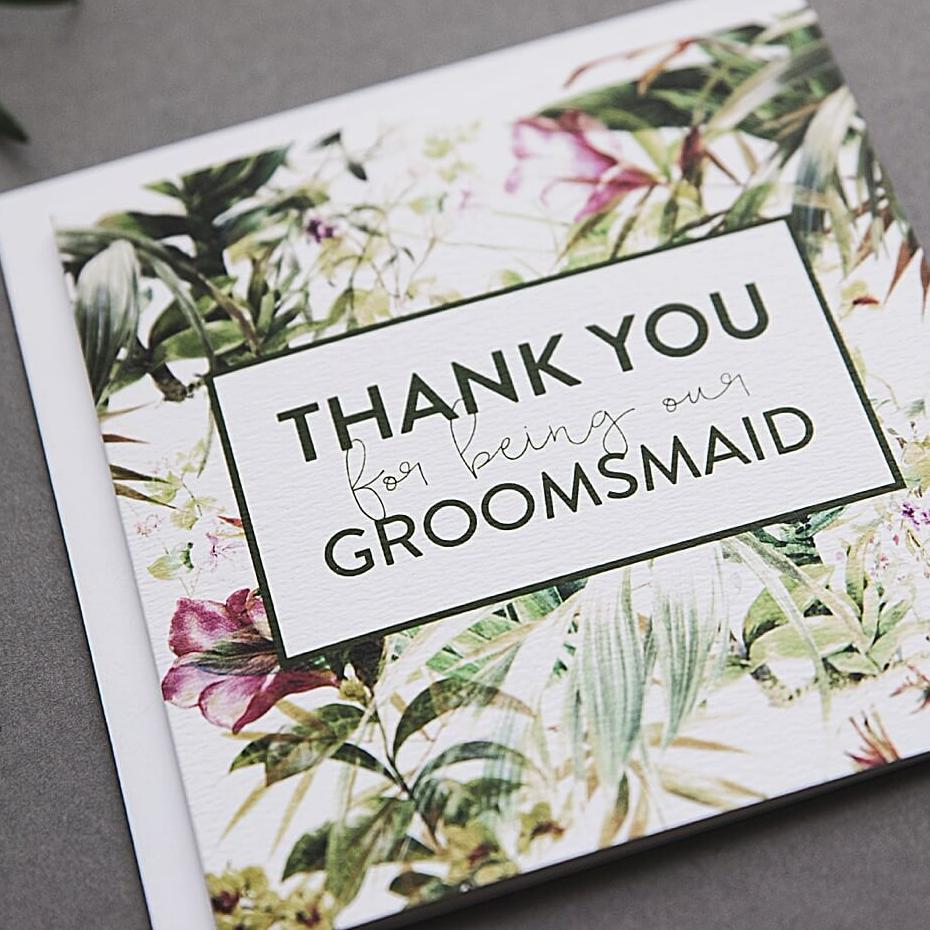 Groomsmaid thank you card