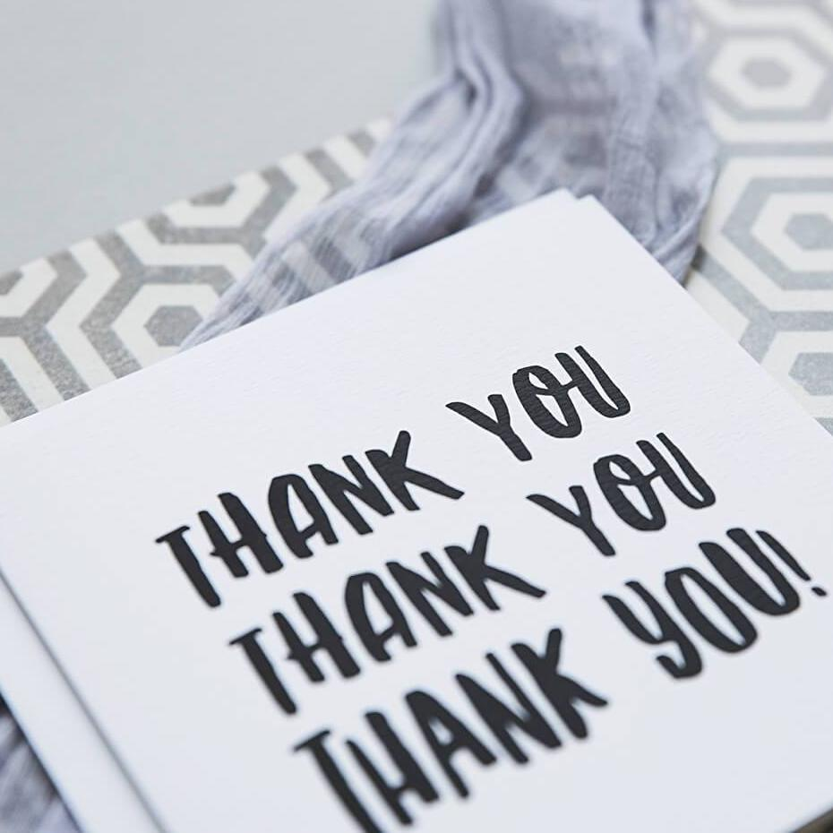 Monochrome Typographic Thank You Card