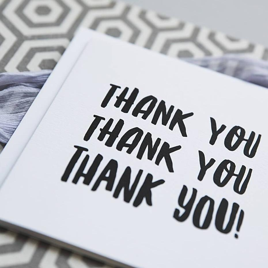 Black And White Typography Thank You Card