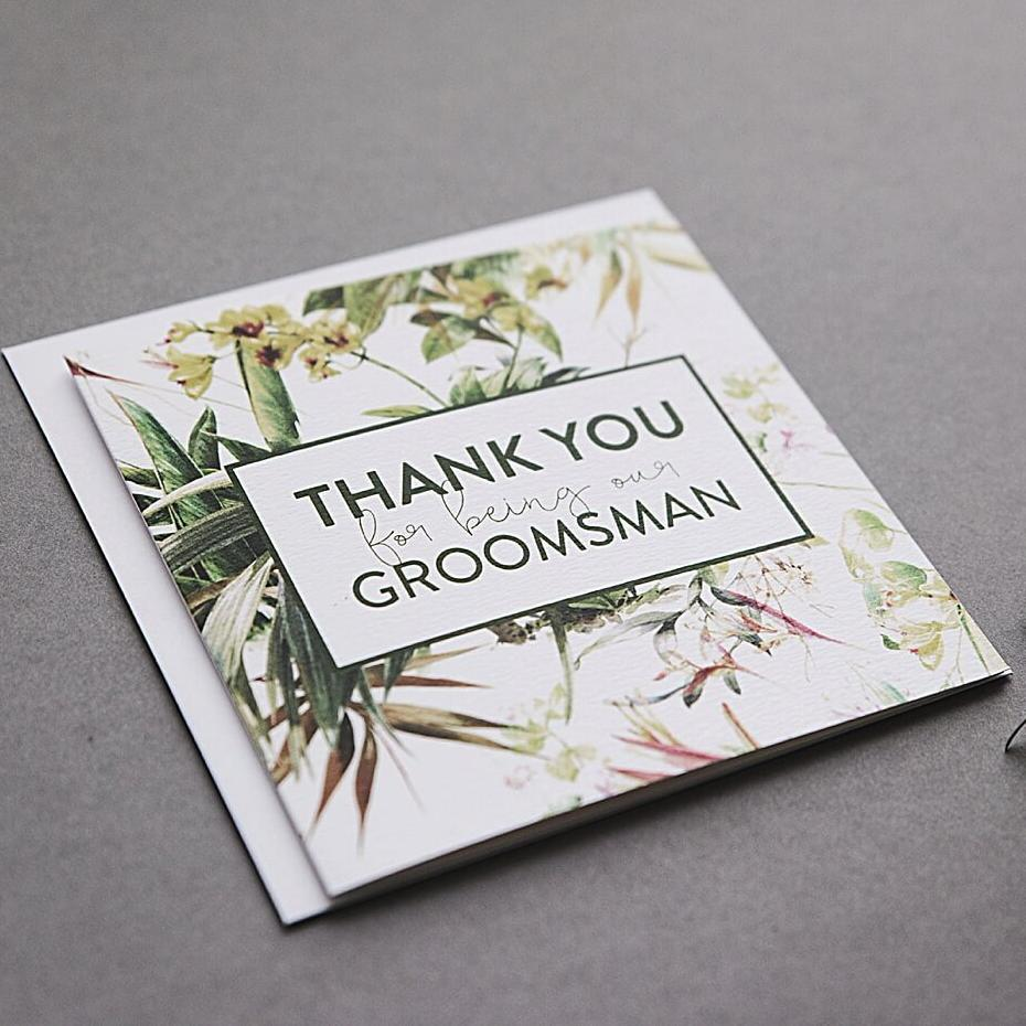 Tropical Thank you Groomsman Card
