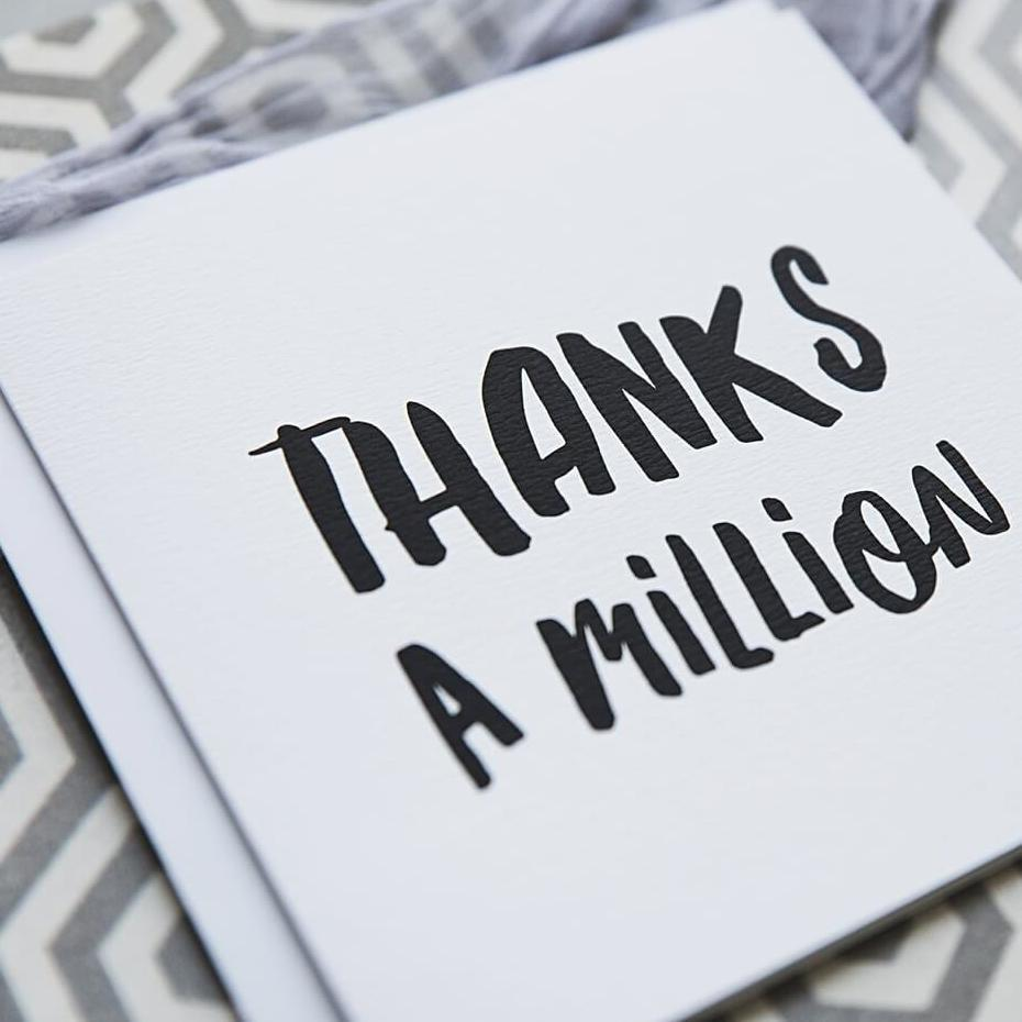 Black And White Typography Thank You Card 'Thanks A Million'