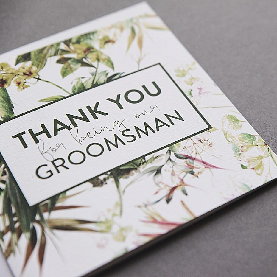 Botanical Thank you Groomsman Card