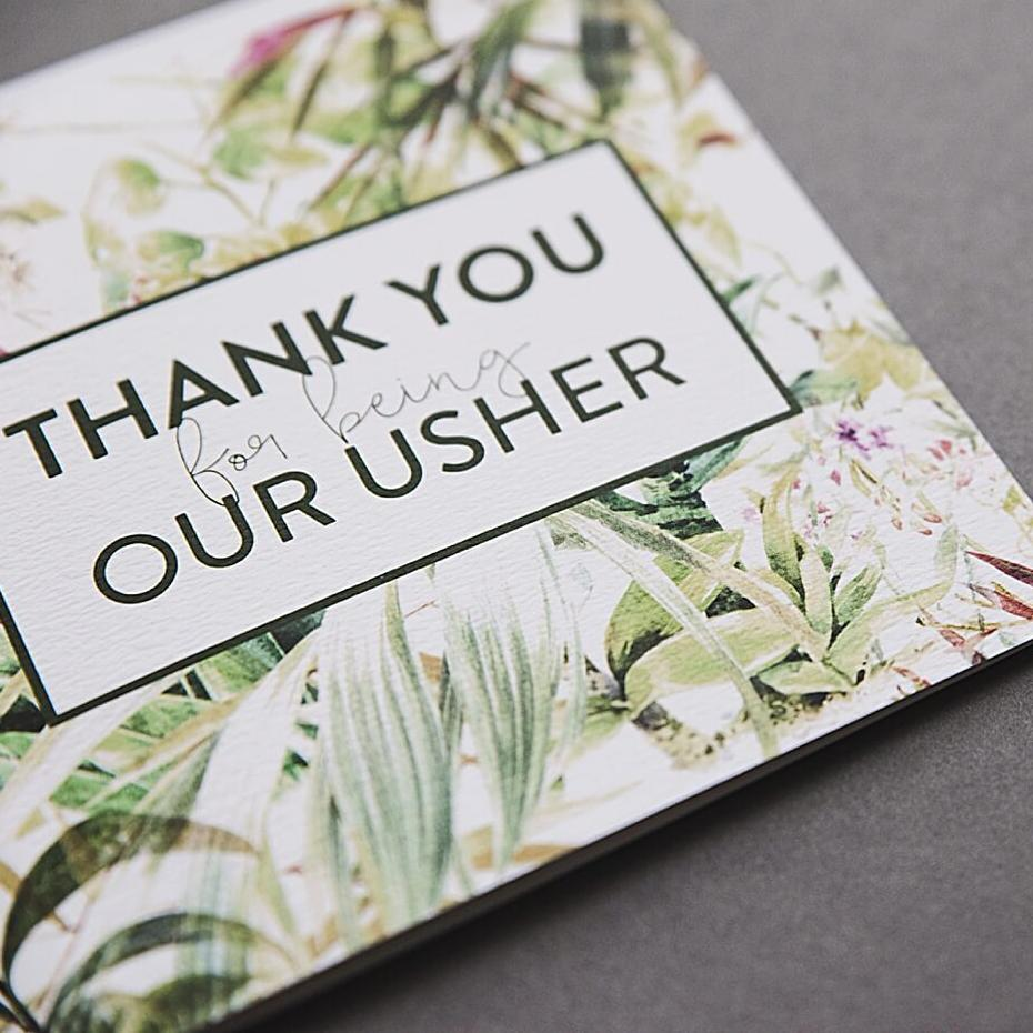 Botanical Thank you Usher Card