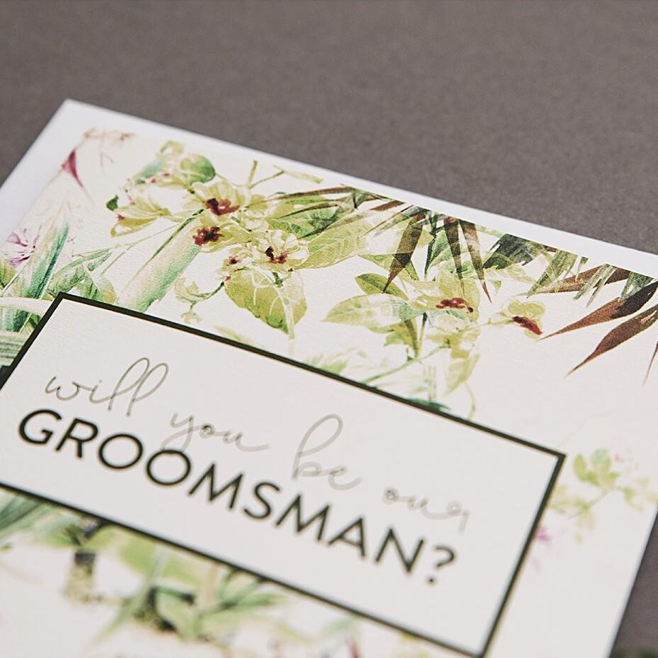 Tropical Will You Be Our Groomsman Card
