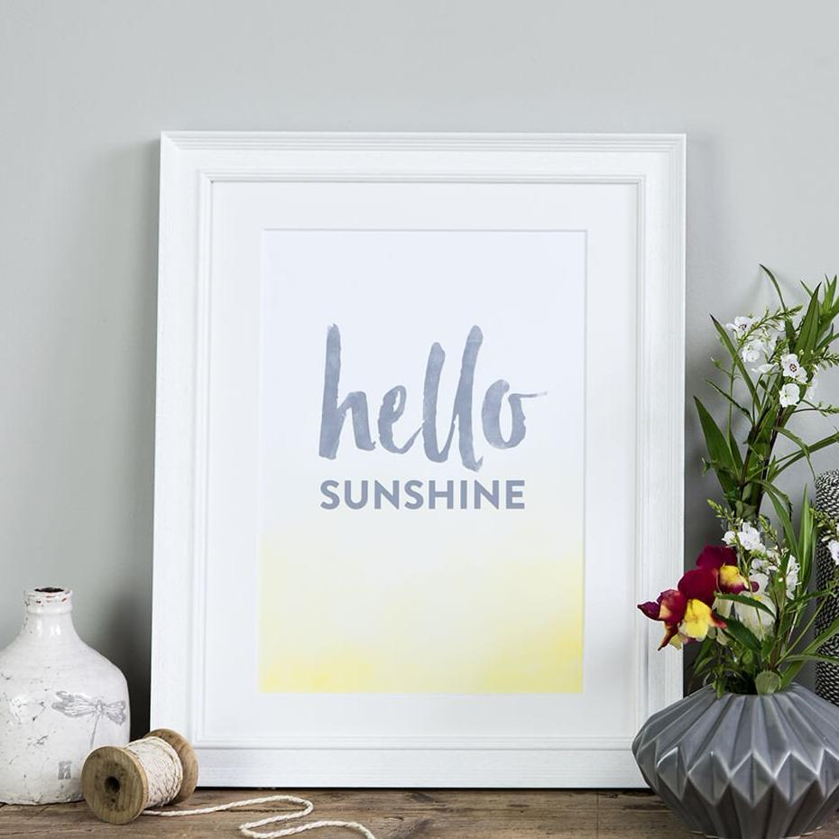 Typographic Home Decor Print 'Hello Sunshine'