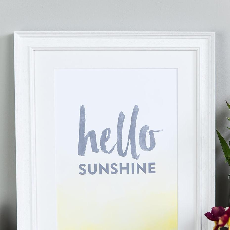 Typographic Poster Print For Kitchen 'Hello Sunshine'