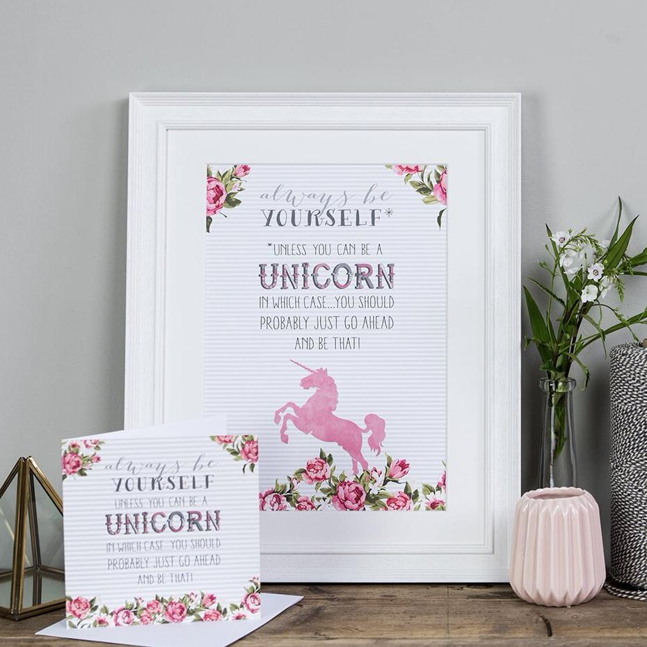 'Always be yourself' unicorn poster print
