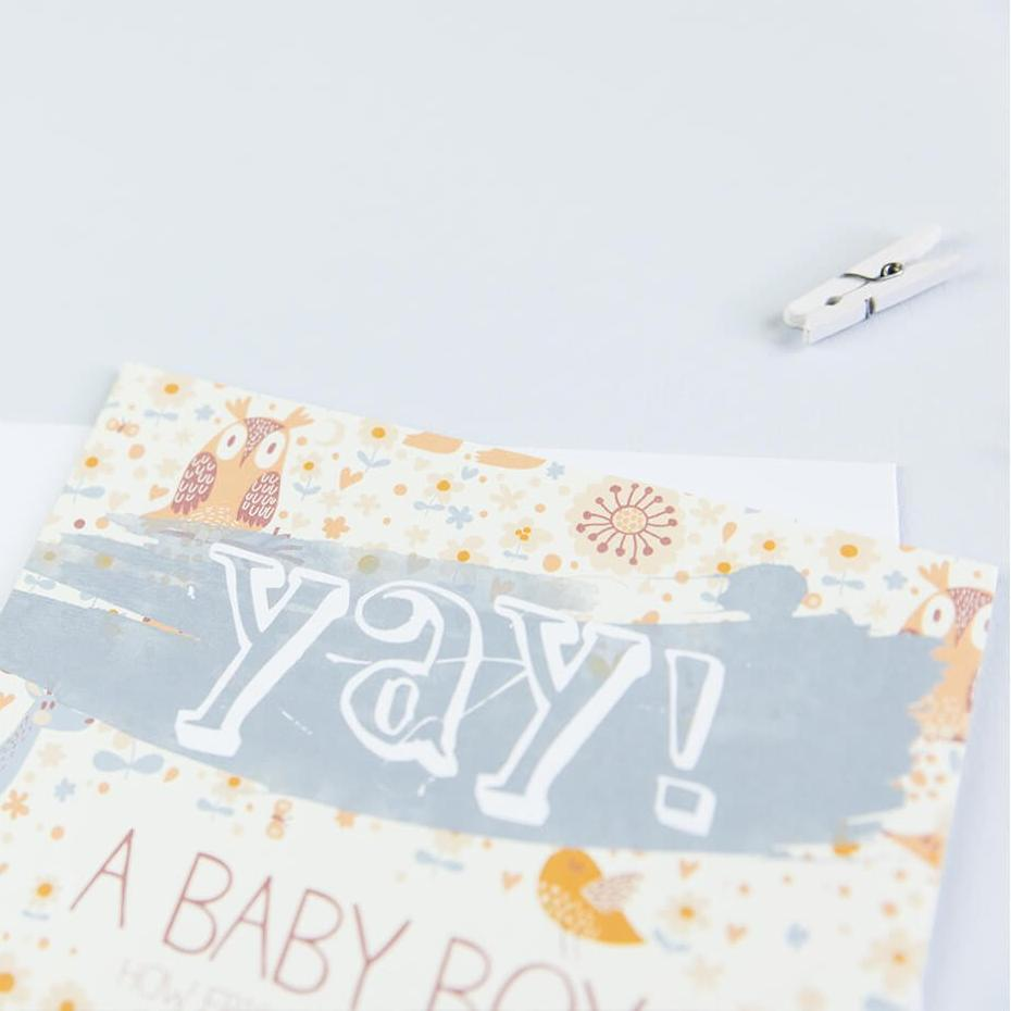 Unique card for new baby boy - congratulations card for new parents