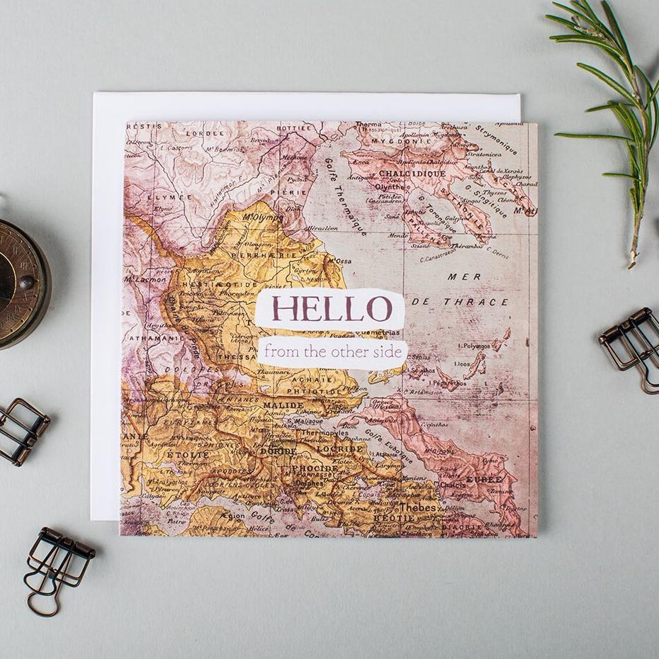 Unusual long distance card 'Hello From The Other Side'