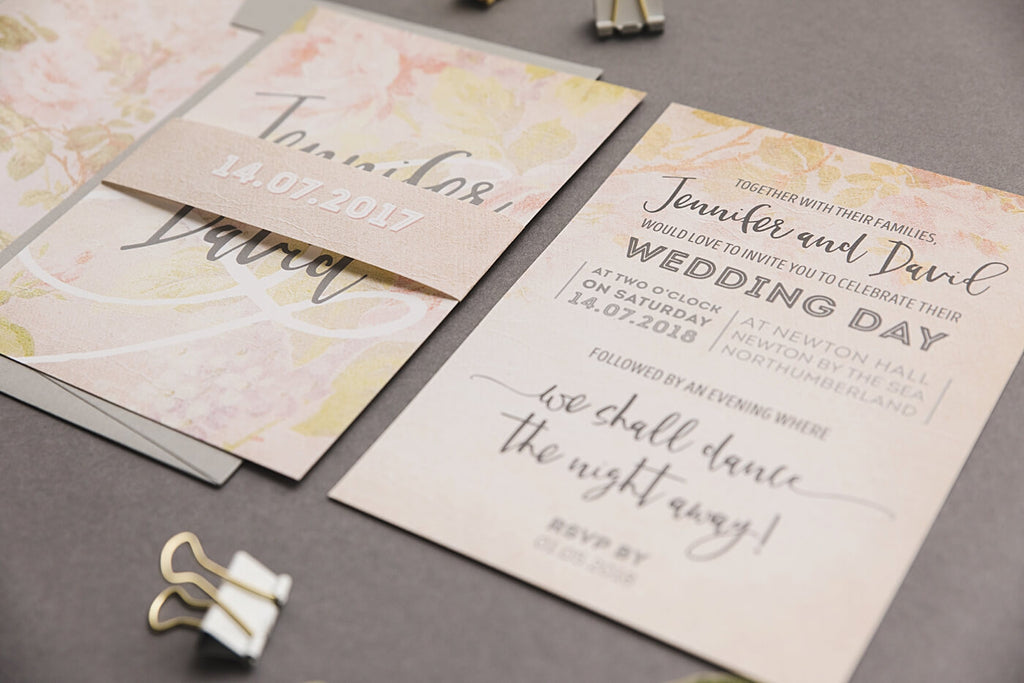 Pastel Peach Wedding Invitation Set
