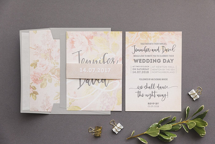Vintage Rose Pastel Peach Wedding Invitations