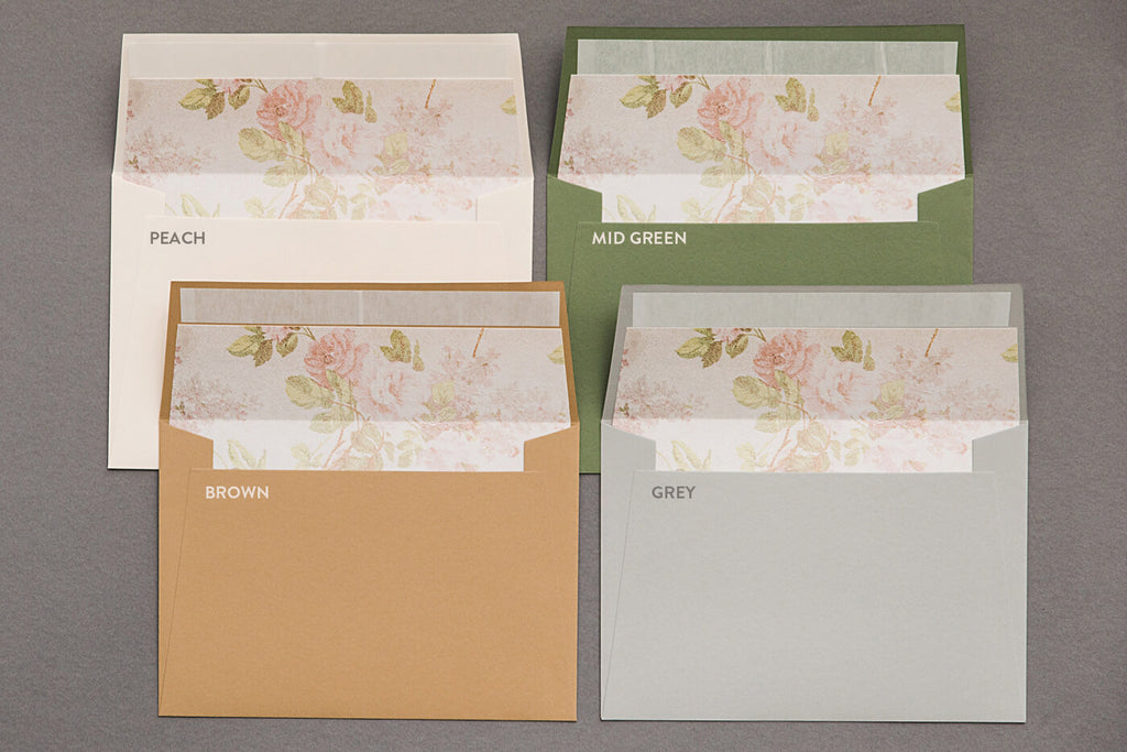 Peach, Mid Green, Brown & Grey Wedding Envelopes
