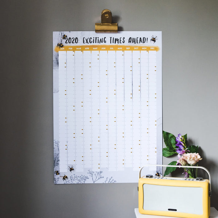Watercolour Bumblebee 2020 Wall Planner