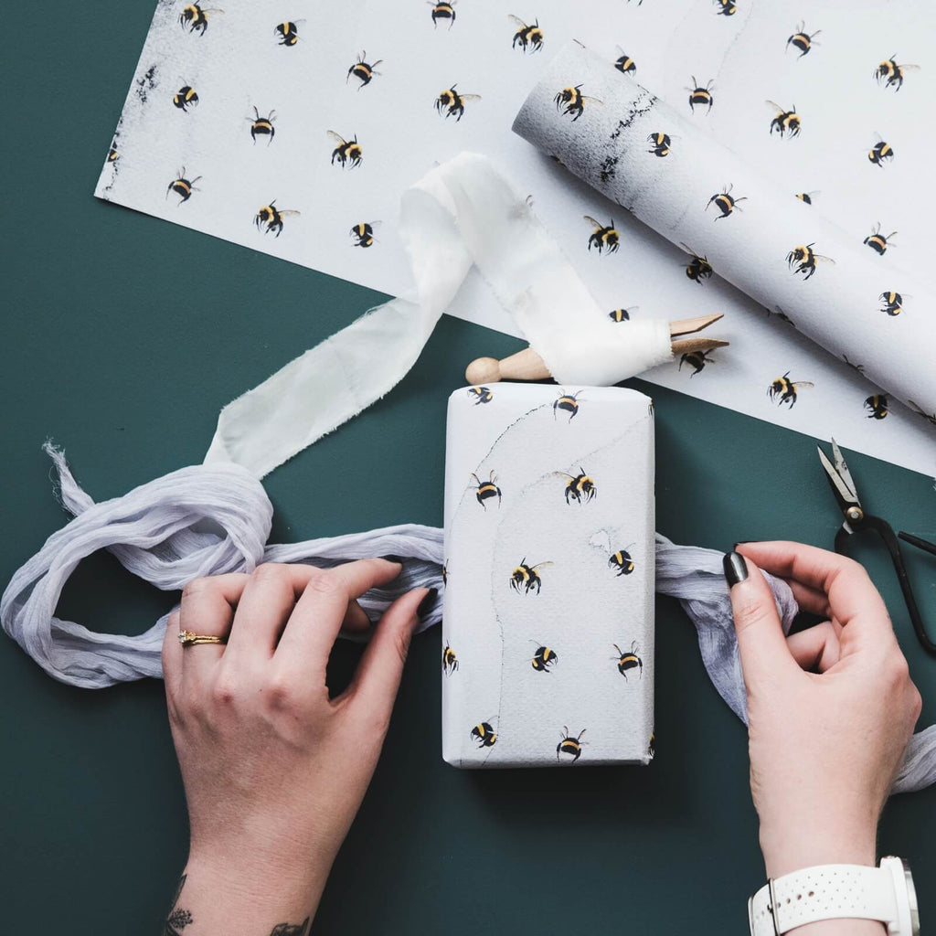 Watercolour Bumblebees Gift Wrap
