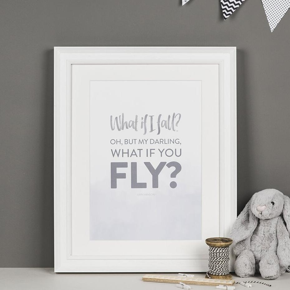'What If I Fall?' Typographic Quote Print - Erin Hanson Quote Print