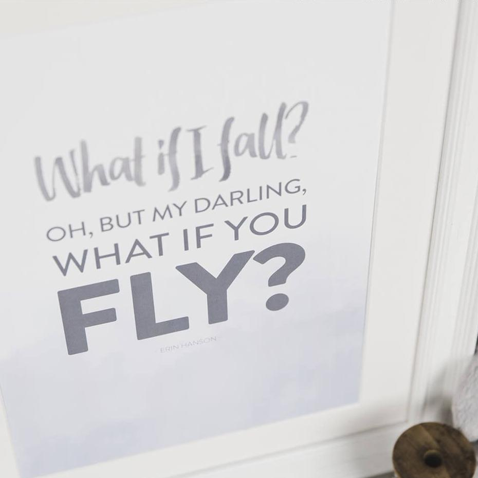 'What If I Fall?' Typographic Quote Print