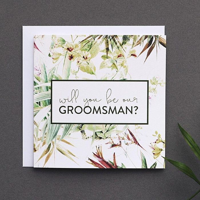 Tropical Groomsman proposal card