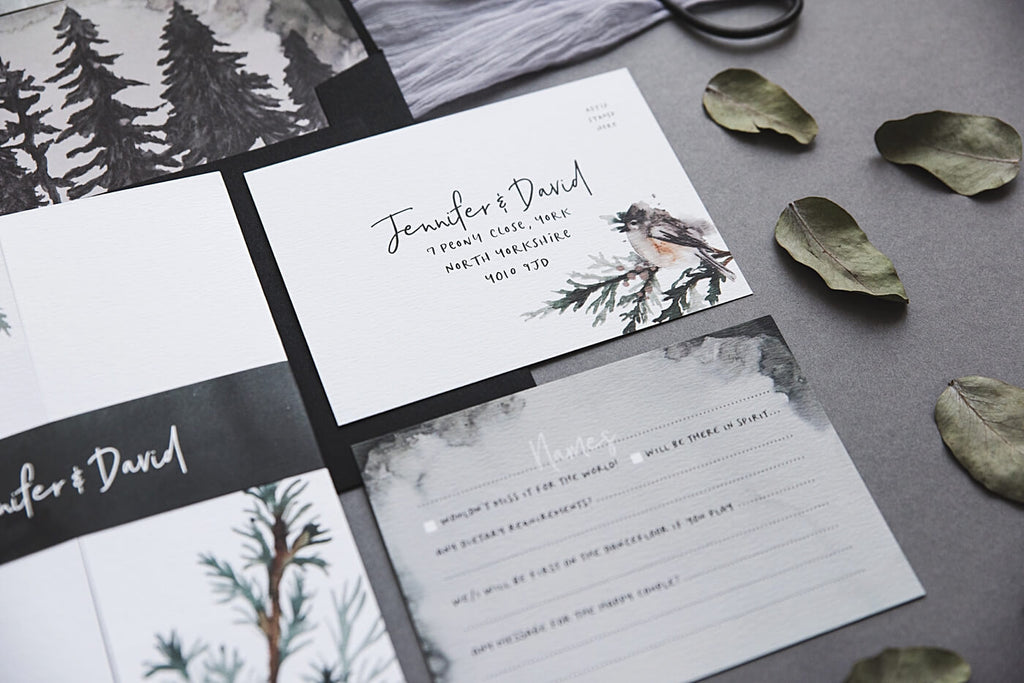 Grey and White Wintry Wedding Invites
