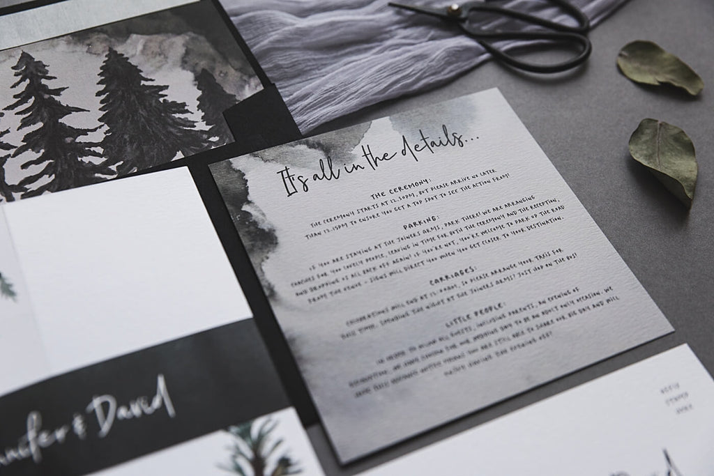 Details Winter Forest Wedding Invites