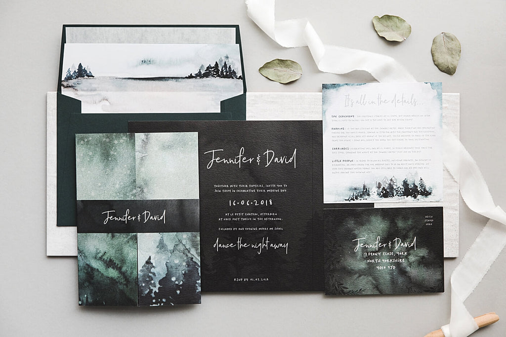 Winter Snow Wedding Invitation Package