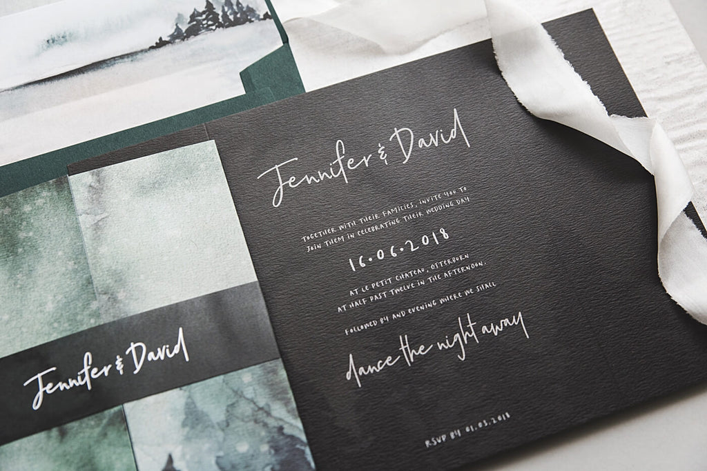 Dark Gate Fold Winter Wedding Invites