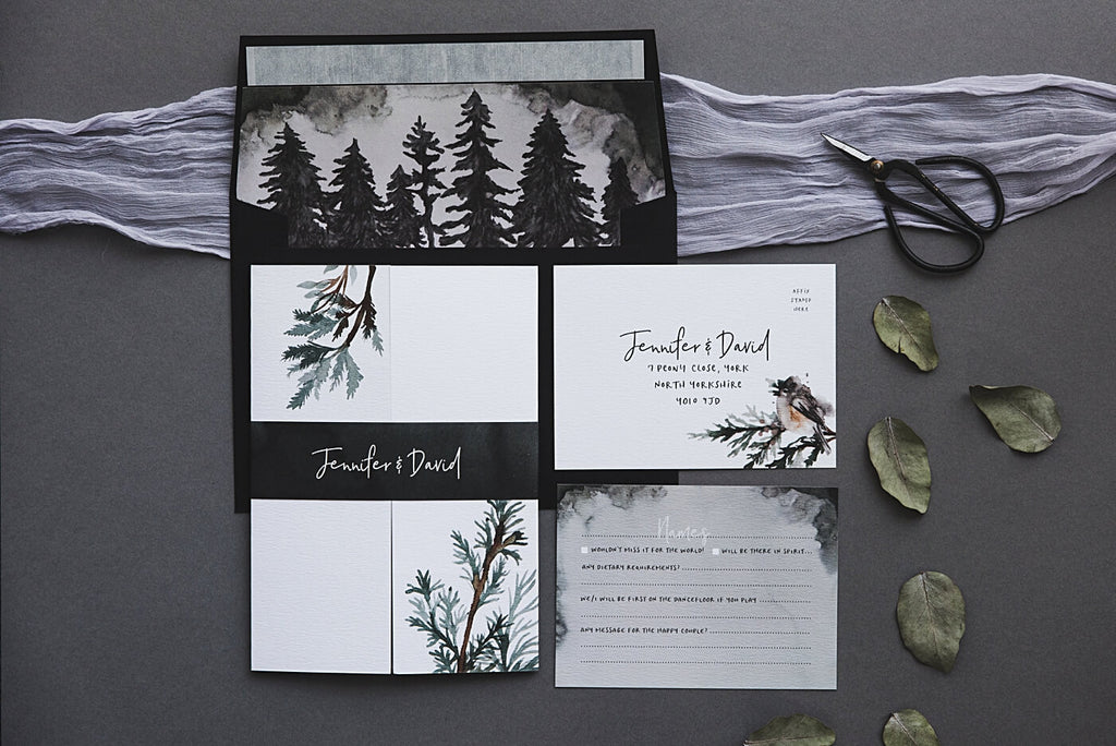 Winter Pine Tree Inspired Wedding Invites