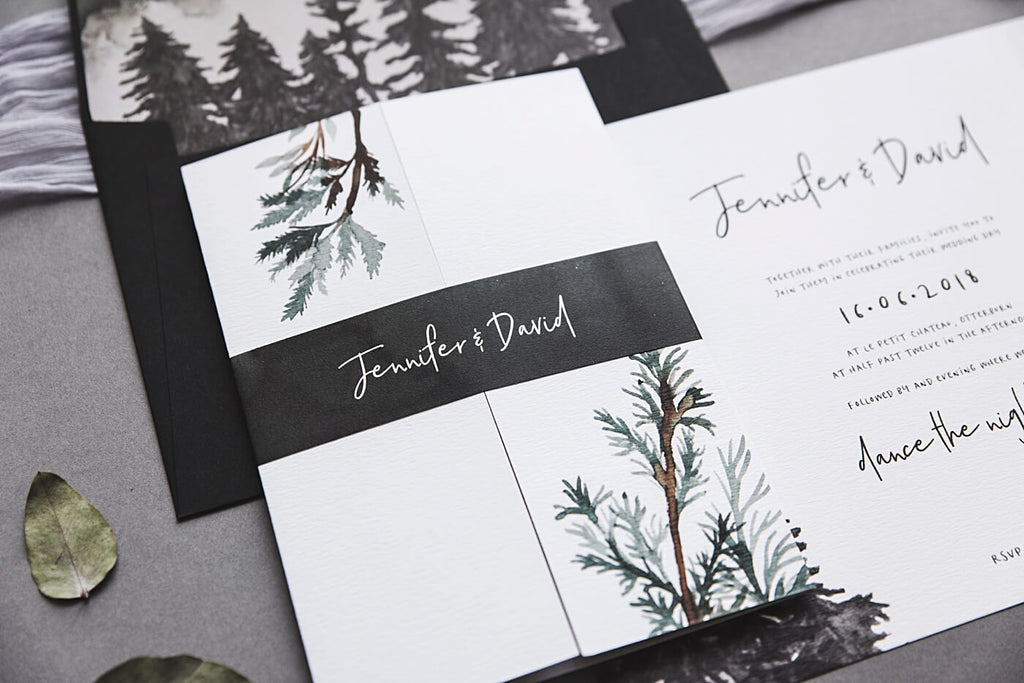 Gate Fold Forest Inspired Wedding Invitation