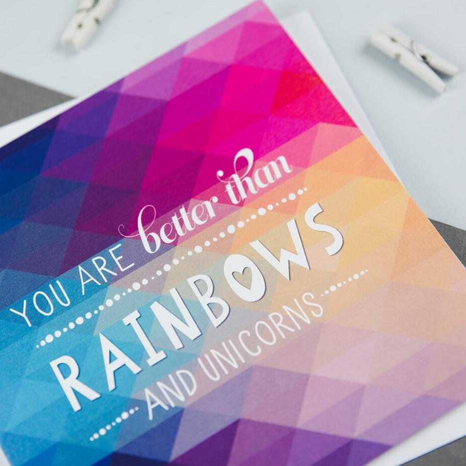 'You are better than rainbows and unicorns' geometric unicorn thank you card
