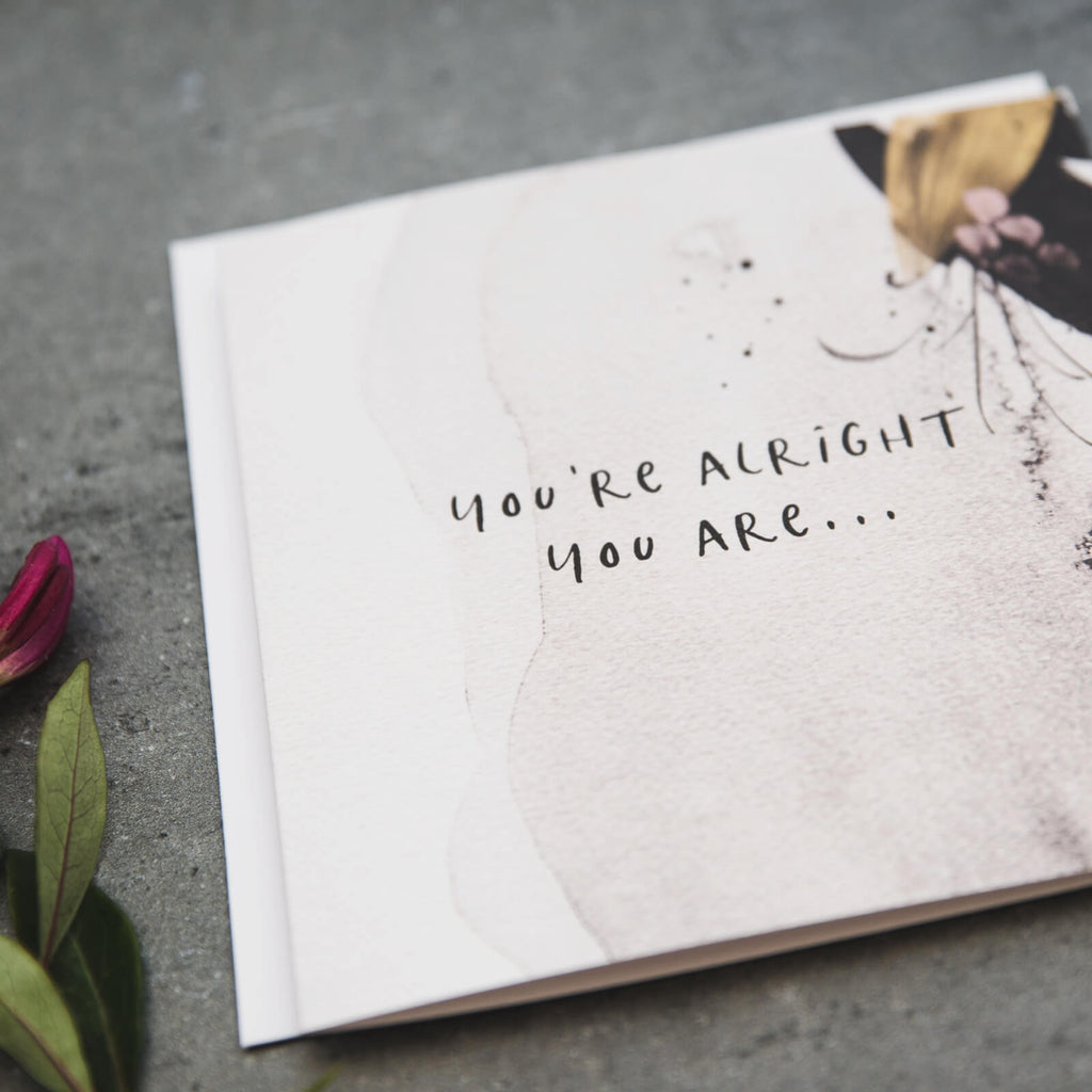 Funny anniversary and Valentine's card for boyfriend or girlfriend 'You're Alright You Are'