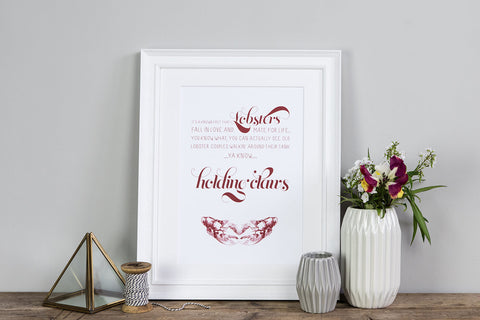 'You're My Lobster' print - lobster quote print from Friends tv show