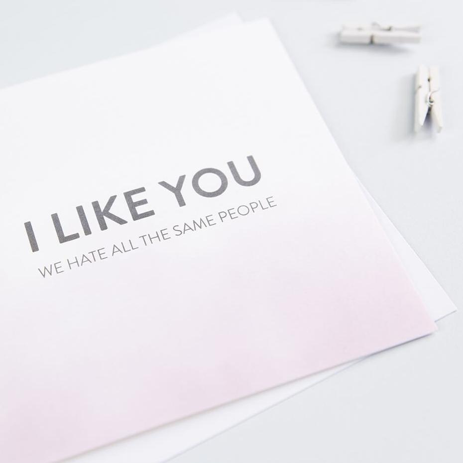 awkward friendship cards - 'I like you, we hate all the same people'