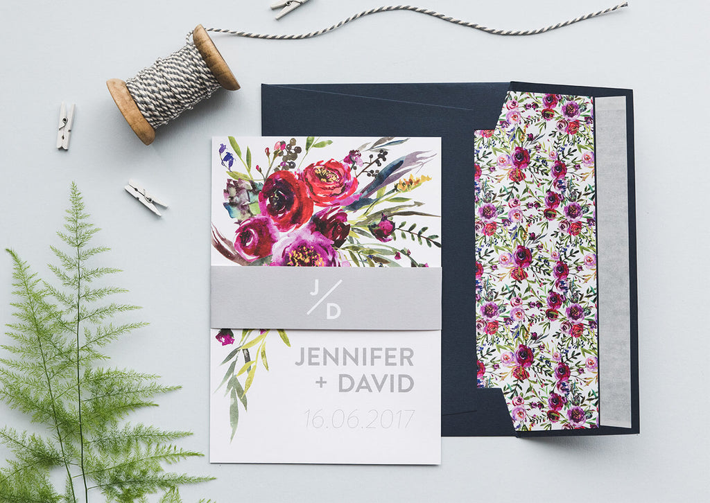 watercolour floral wedding invitations