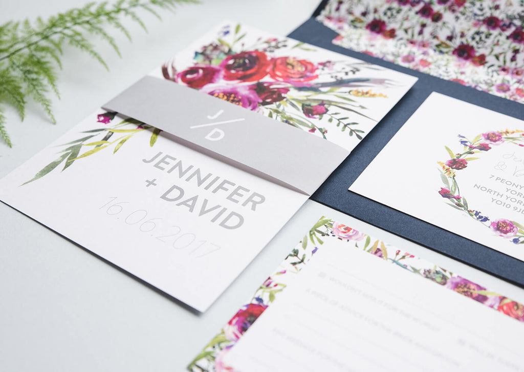floral watercolour wedding stationery sets