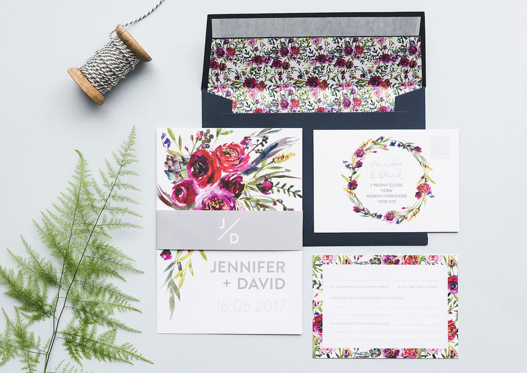 wedding stationery set floral watercolor
