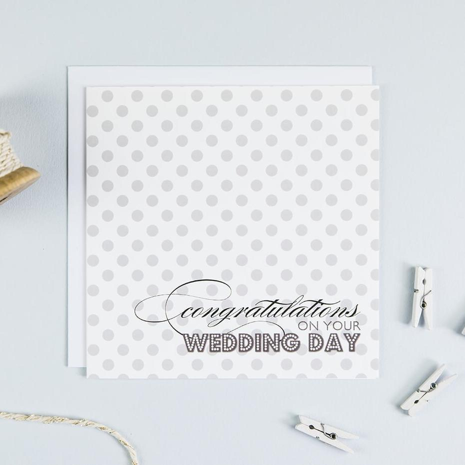 'Congratulations' Polkadot Wedding Day Card