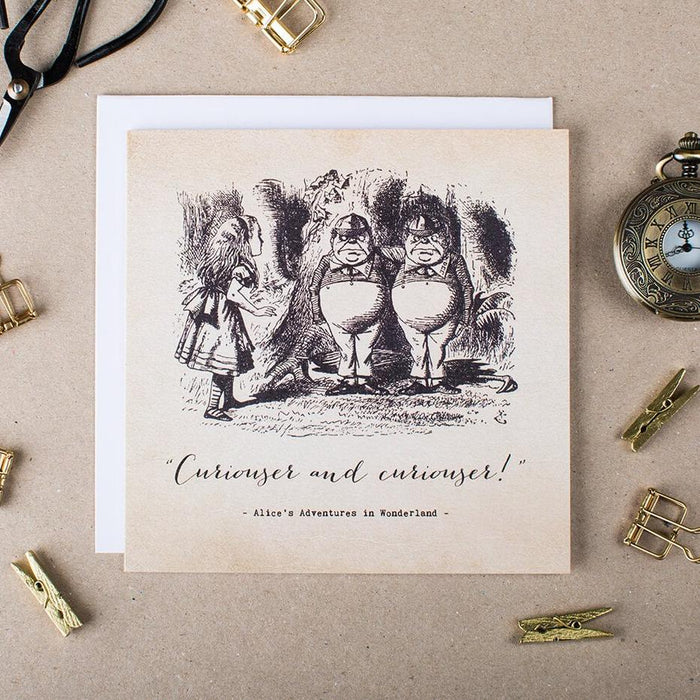 Alice In Wonderland Greetings Card - 'Curiouser and Curiouser'