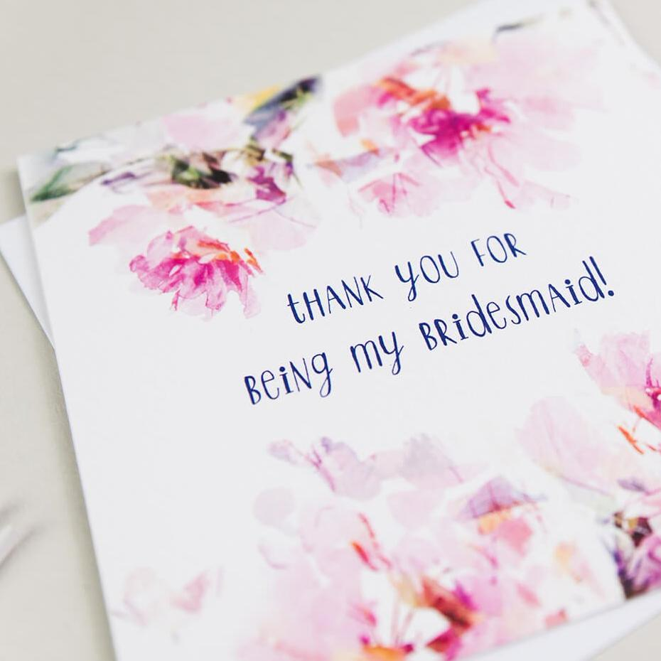 pretty floral bridesmaid thank you cards - 'Thank You For Being My Bridesmaid'