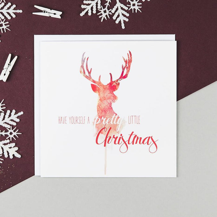 Red And White Watercolour Stag Christmas Card - 'Pretty Little Christmas'