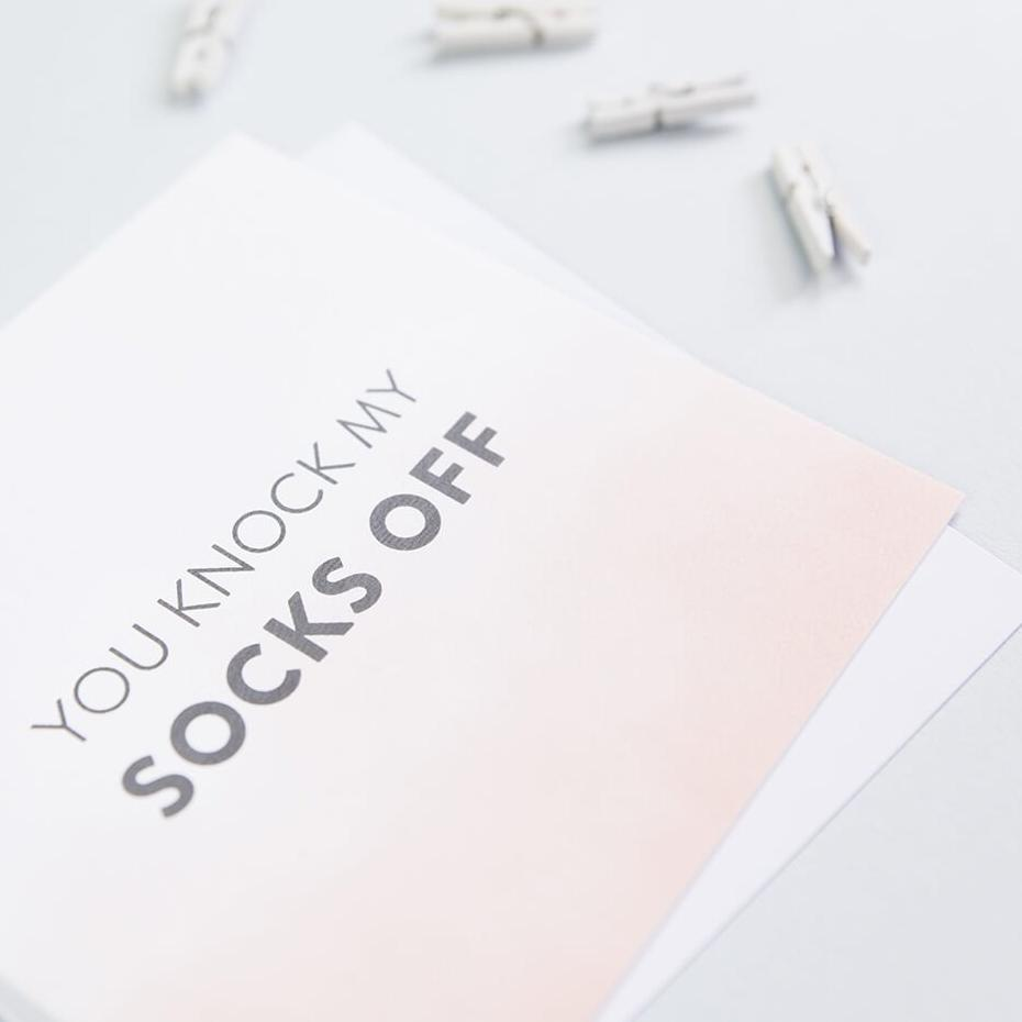 simple anniversary and love card for boyfriend or girlfriend - 'you knock my socks off'