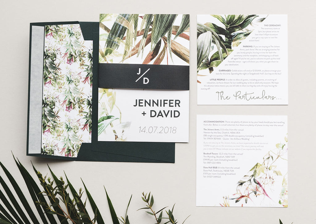 tropical wedding stationery
