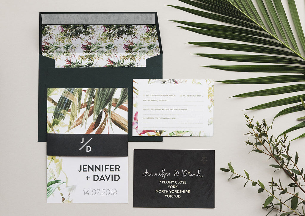 wedding invitation uk greenery