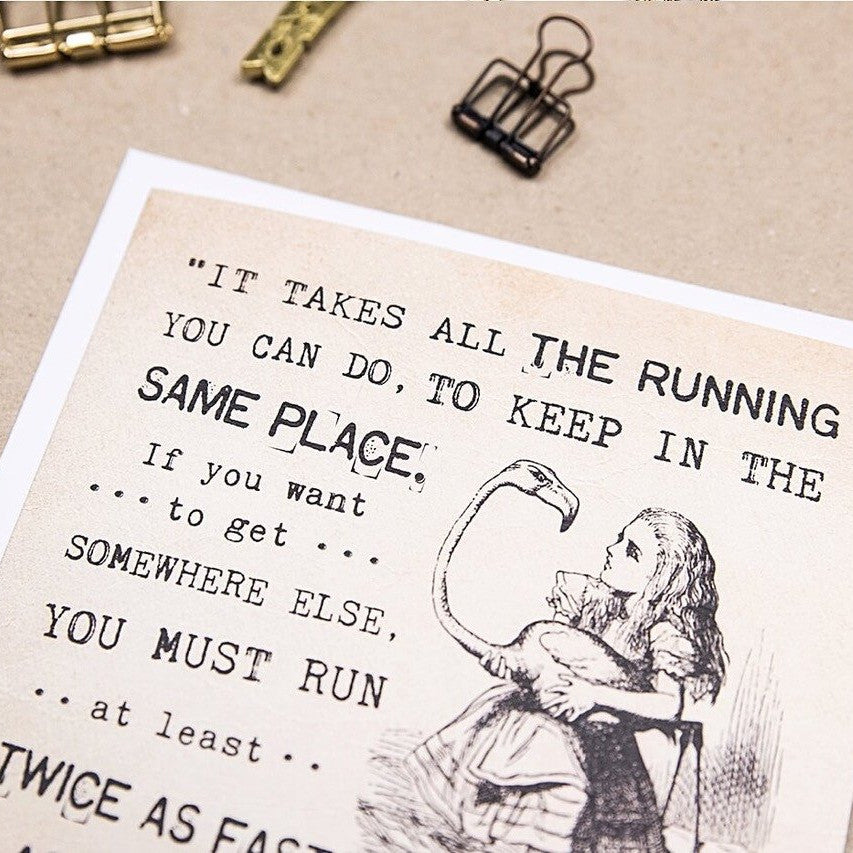 Alice in Wonderland greetings card 'Twice As Fast As That'
