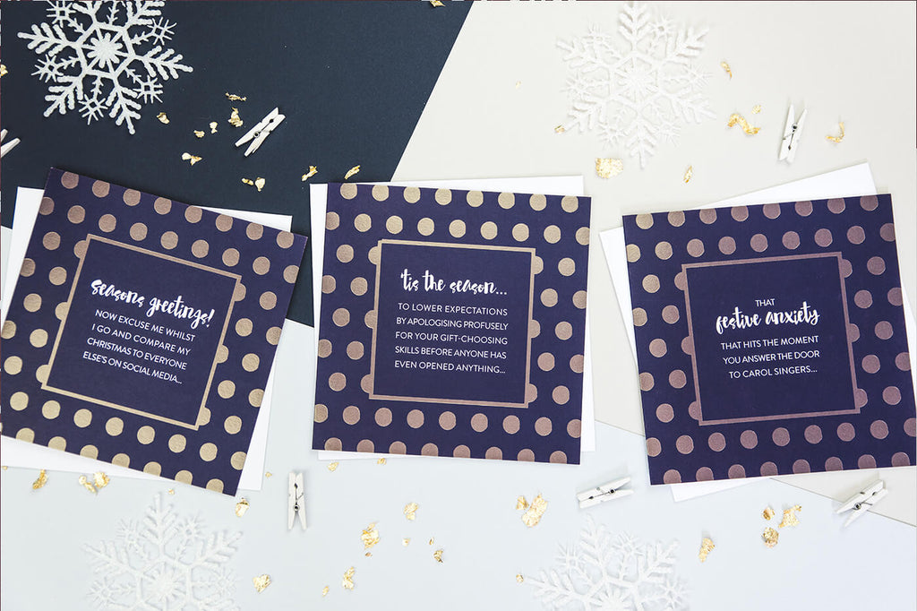 Gold Foil Socially Awkward Christmas Card Packs Online