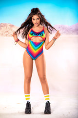#Love Rainbow Print Bodysuit