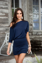 Navy Off The Shoulder Mini Dress