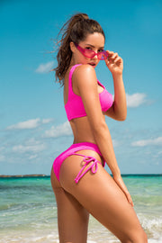 Two Piece Neon Pink Ribbed Swimsuit