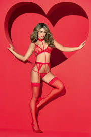 Red Lace Teddy With Garters
